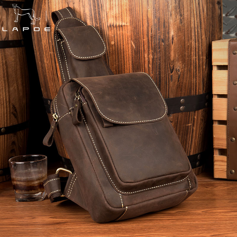 LAPOE Vintage Genuine Leather Chest Bag Male Crossbody Bags for Men Messenger Bag Men Leather Shoulder Sling Man Bags Chest Pack joyir genuine leather chest bag for men crossbody chest pack solid flap leather bags mens shoulder bags small messenger bag new
