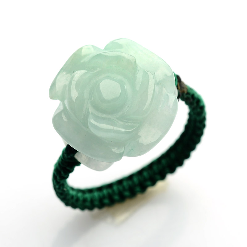 Natural Jadeite Jade Ring Rose Flower Woman's Ring Weaving Green Rope US 5-12 New