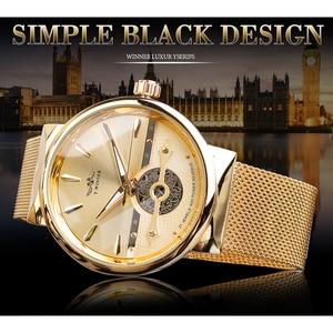 Image 2 - Zwycięzca złote męskie zegarki automatyczny biznesowy zegarek na rękę szkielet analogowy siatkowy pasek stalowy własny wiatr mechaniczny Reloj Hombre Saat