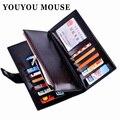 Youyou mouse vendimia de las mujeres carteras de cuero de aceite dos veces ms. larga Monedero Cremallera de La Manera de Señora Clutch Money Card Bag titular
