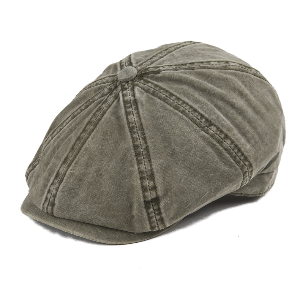 0f191286c VOBOOM Khaki Washed Cotton Newsboy Cap 8 Panel Flat Ivy Cap Summer ...