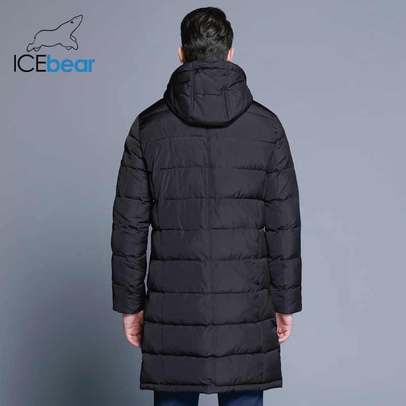 ICEbear 2018 зимнее мужское длинное пальто Изысканный карман на руку Мужская однотонная парка теплые манжеты дизайн дышащая ткань куртка 17M298D