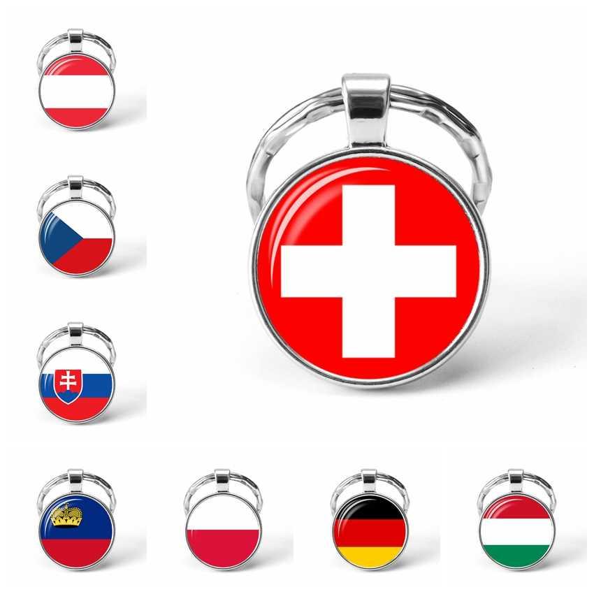 ยุโรปประเทศธงพวงกุญแจเยอรมนีโปแลนด์สวิตเซอร์แลนด์ออสเตรียฮังการีธงแก้ว Cabochon จี้โลหะพวงกุญแจ