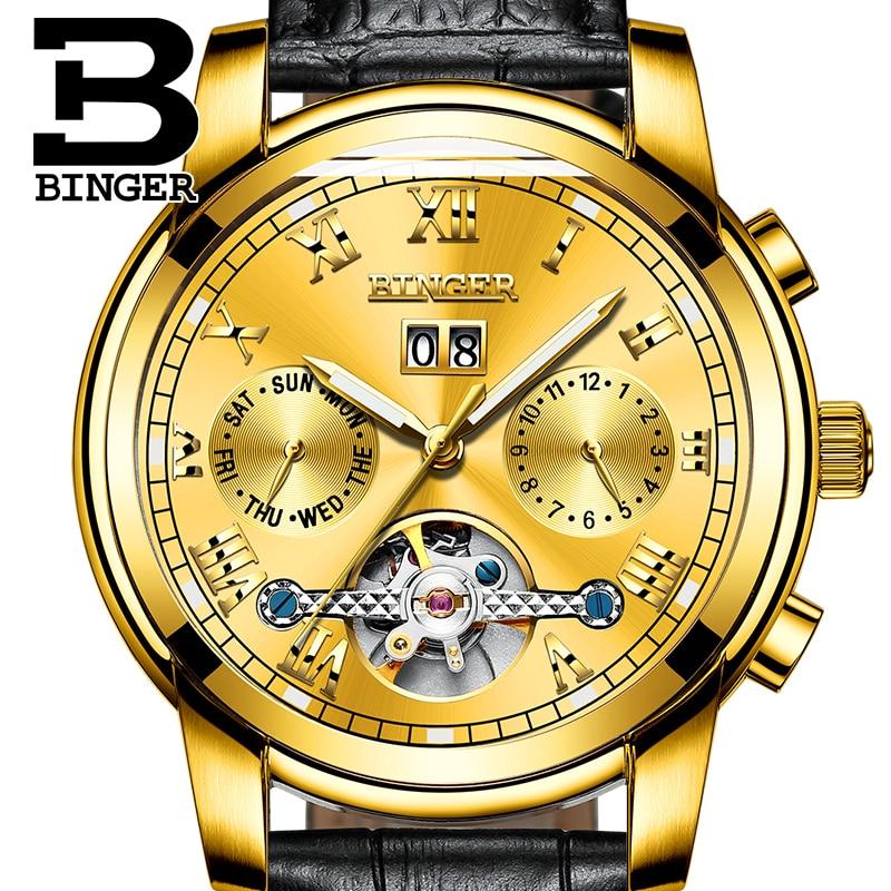 Extravagant Men Gold Tourbillon Watches Self-winding Genuine Leather Wristwatch Worked 3 Eyes Analog Watch Roman Calendar Montre