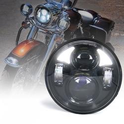 5 3/4 5.75 Cal projekcja ledowa reflektor moto dla moto r moto rcycle w/białe światło do jazdy dziennej Hi/lo wiązka reflektor na