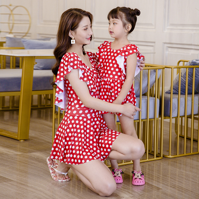 2 Colors Dot Pattern Mother Daughter Swimsuit Swimwear Lovely Ruffled Women Girls One-Piece Suits Backless Parent-Child Clothes