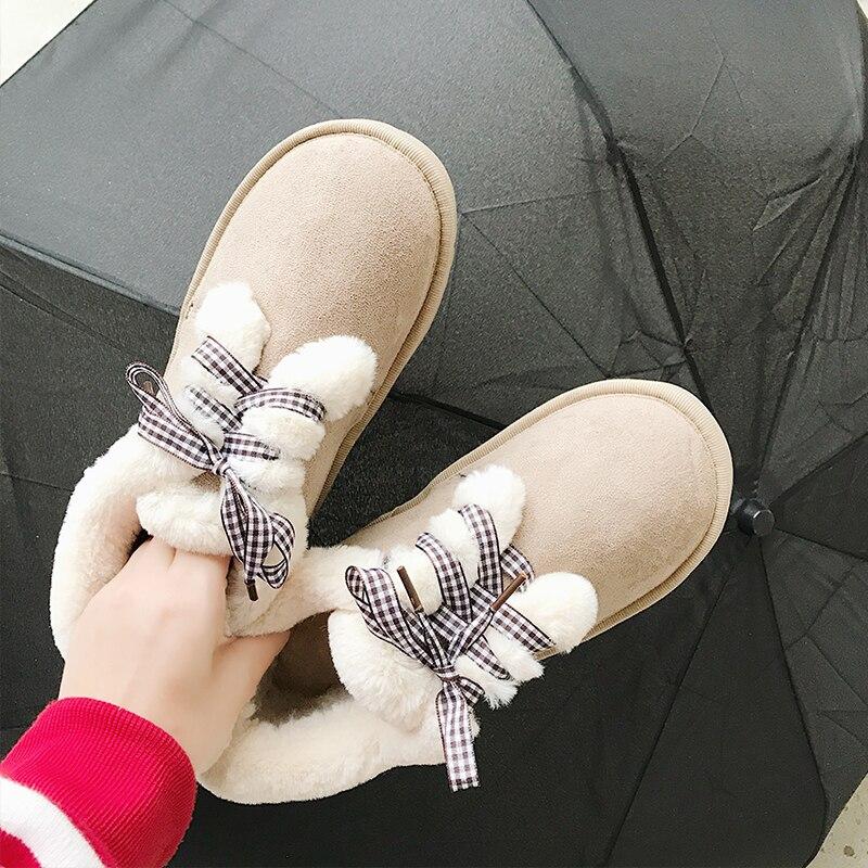 De Beige Cómodo Bajo Caliente Botas Las Tubo Zapatos Nueva Corte Suede Encaje Antideslizante Corto marrón Mujeres negro Moda Invierno Nieve Algodón YUqPIw