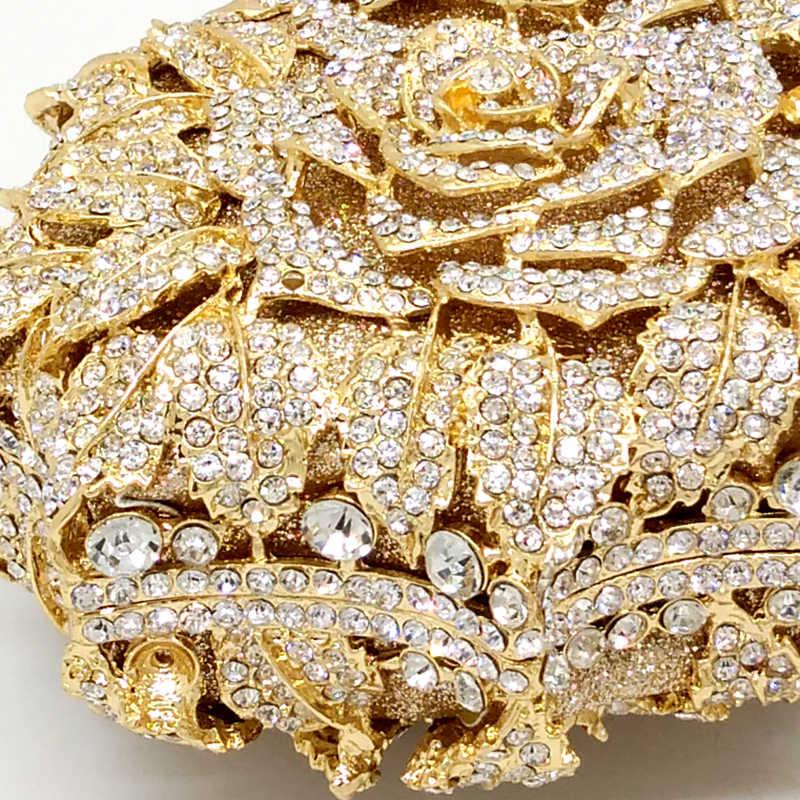 Ослепительный женский золотой розовый цветок полый кристалл вечерние металлические клатчи маленькая мини-сумка сумочка кошелек свадебная вместительная сумка-клатч