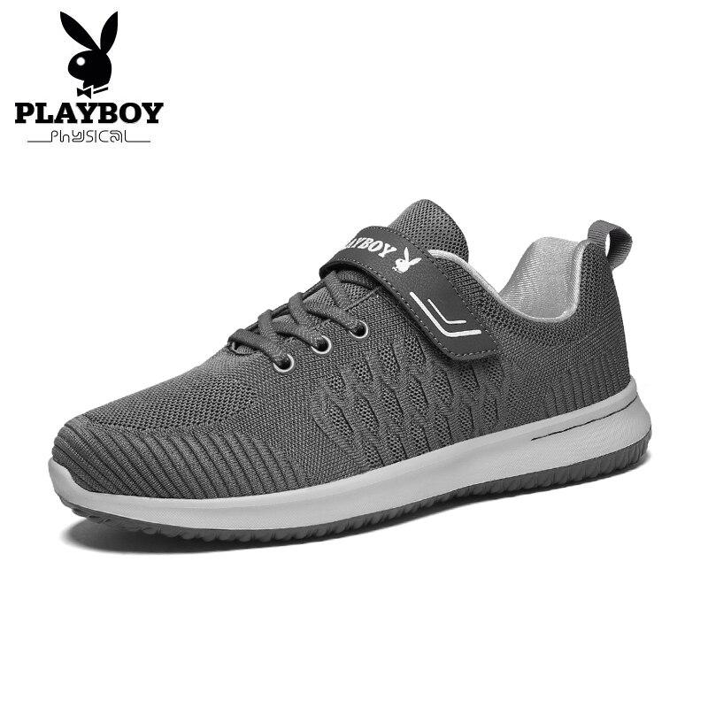 Nouveau De Chaussures 2018 Maille automne Sport Noir bleu Marine Respirant Hommes Casual ardoisé Plat Personnes Playboy Printemps Légers Mode Âgées knO8w0P