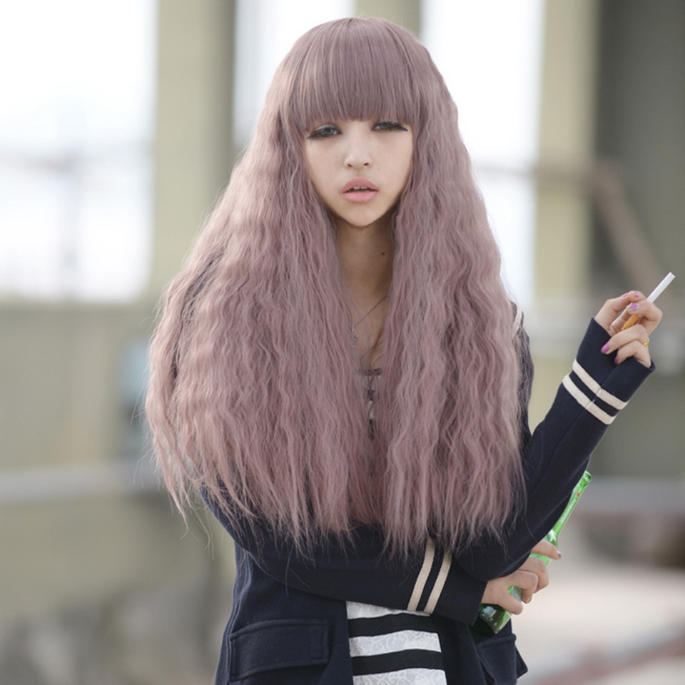 Cheap Light Purple Corn Curly Long Lolita Wig With Bangs ...