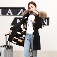 The New Fashion Warm Warm Large Raccoon Fur Collar Water Mink Hair Liner 85CM Long
