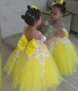 b86392a21557 yellow off the shoulder princess prom flower girl dress