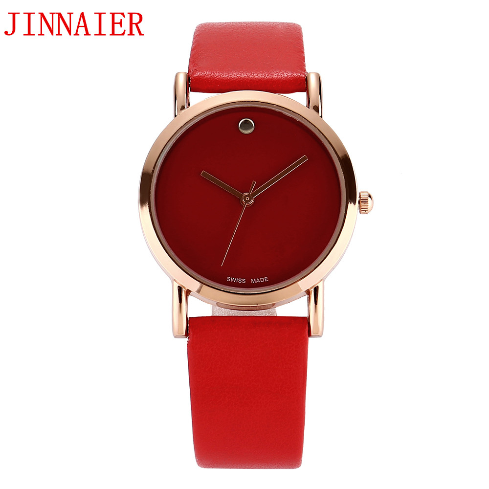 10pcs/lot wholesales hot sales 3colors women students Gold shell black white red watch quartz small leather wristwatch