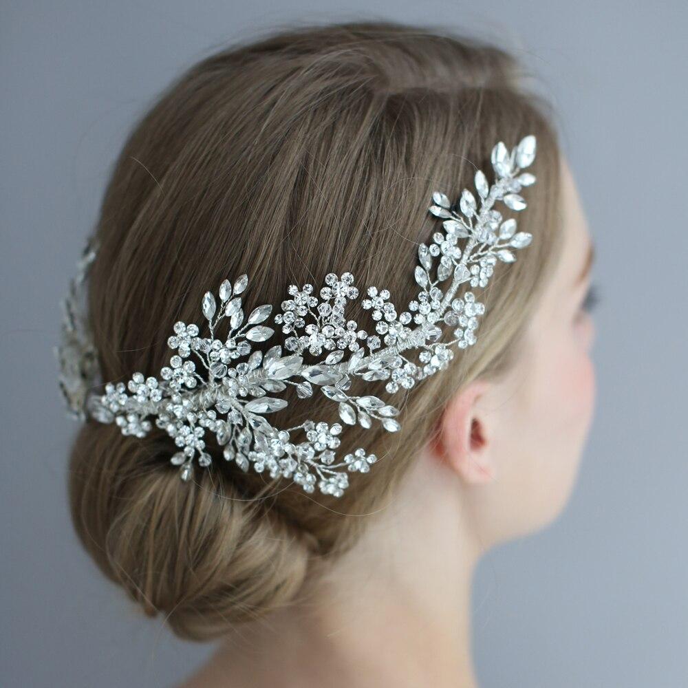 Image 3 - Luxury Crystal Bridal Headpiece Barrettes Hair Clips Vine  Rhinestone Floral Wedding Hair Accessories Brides Hair Jewelry 2019Hair  Jewelry