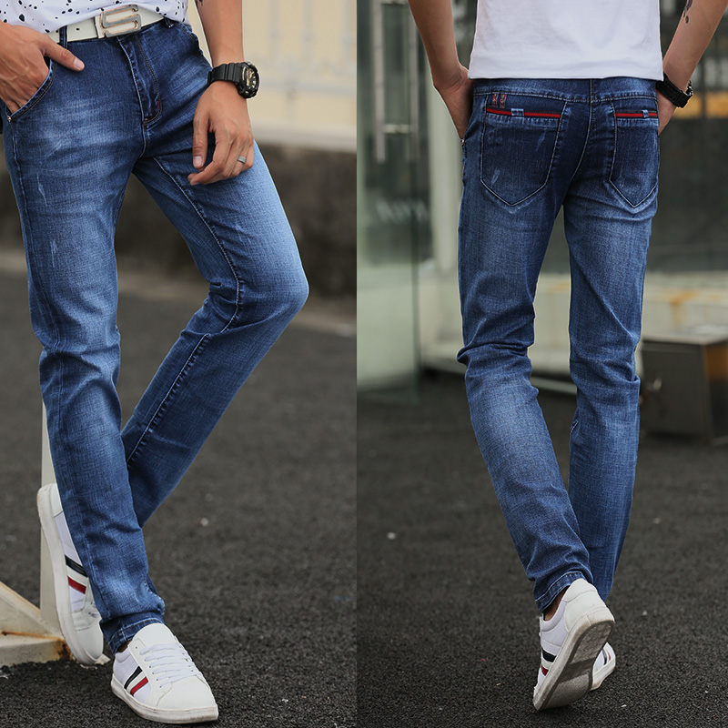 2018 New Mens Solid Blue Skinny Jeans Stretch Washed Slim Fit Straight Pencil Pants Casual Streetwear z004