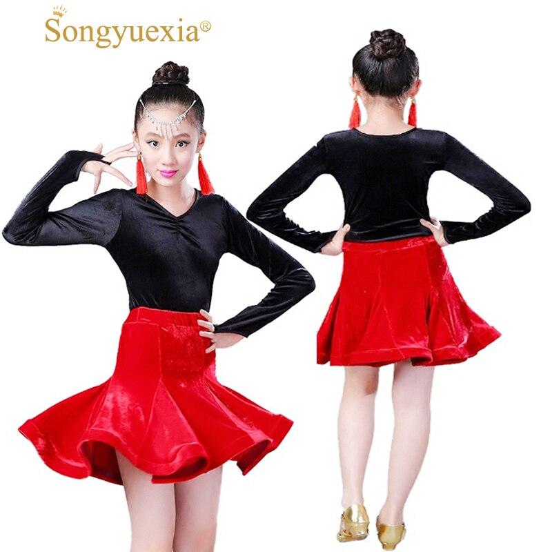 Long Sleeve Woman Dance Skirt Children Winter Velvet Lading Dress Dancer Stage Dancewea Practice Long Sleeve Latin Dance Skirt