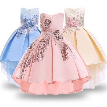 78e7c7205 Flores bebé niñas apliques de encaje vestido de princesa niño boda fiesta  Formal vestido para niñas