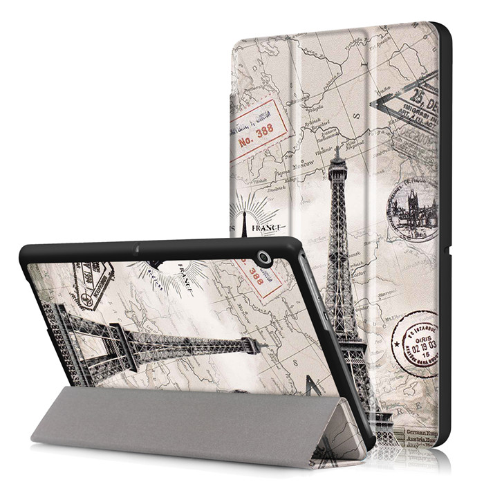 100Pcs PU Leather Stand Cover Case For Huawei Mediapad T3 10 AGS-L09 AGS-L03 9.6 Inch Tablet + Screen Protector