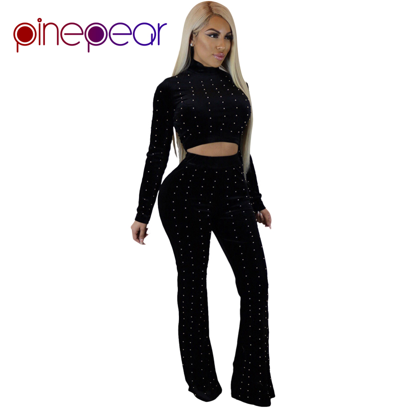 Pinepear Pearl Beading Velvet 2 Piece Set 2019 Winter Women Velour Long Sleeve Corp Top And Pants Suit Party Matching Outfits