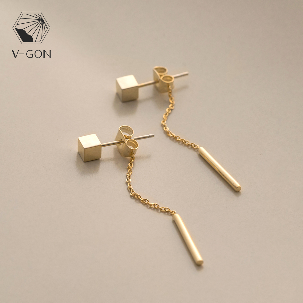 V-GON Long Straight Alloy Drop Square Earring Gold Tassel Chain Simple Dainty Ear Line for Women Fasion Jewelry Gift