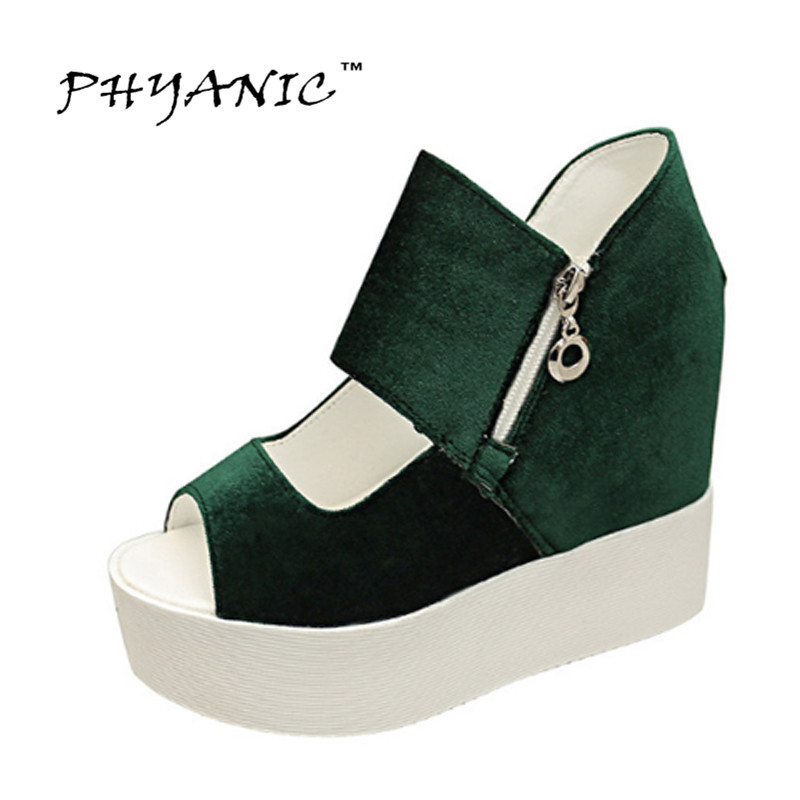 PHYANIC Platform Gladiator Sandals 2017 New Casual Wedge Shoes Woman Summer Women Ankle Boots Side Zipper Party Shoes PHY5036 phyanic gold silver wedges sandals 2017 new platform casual shoes woman summer buckle creepers bling flats shoes phy4040