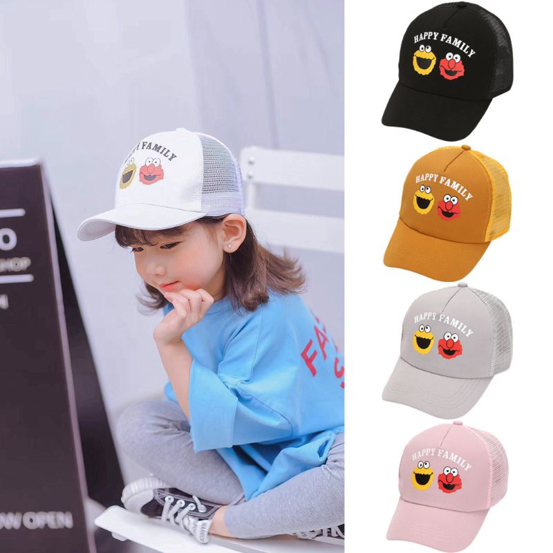 2019 Child Kids Cute Cartoon Letters Printed Baseball Cap Breathable Mesh Adjustable Snapback Outdoor Sunshade Peaked Hat 2 10T in Hats Caps from Mother Kids