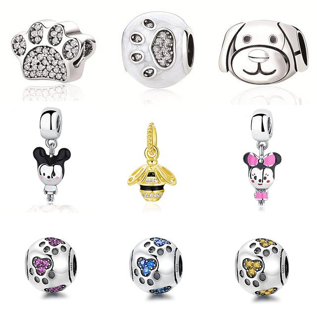 Authentic Women 925 Sterling Silver Bead Double Side Lovely Dog Footprints Bead Fit Pandora Charm Bracelets Necklace