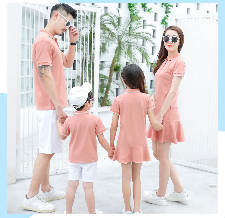 HTB1w714XAT2gK0jSZPcq6AKkpXa6 - family matching outfits summer Polo shirt mother daughter matching dresses dad son turn down collar family couple clothes