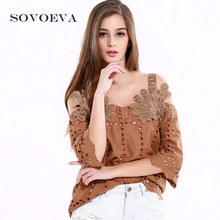 SOVOEVA Tank Tops Appliques Camis Strong Khaki Cutton Strap Tops Informal Ladies Cami Hole Out Three Quarter Sleeves Camisole