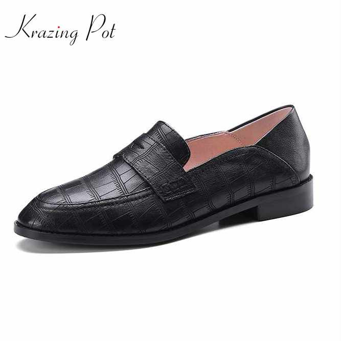 Krazing Pot full grain leather high quality shoes women round toe slip on women low heels superstar fashion pregnant shoes L08 2017 shoes women med heels tassel slip on women pumps solid round toe high quality loafers preppy style lady casual shoes 17