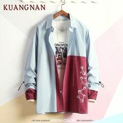 KUANGNAN Japan Style Geometric Shirt Men Streetwear Men Shirts Casual Slim Fit Korean Men Shirt Long Sleeve 5XL Clothing 2019 1