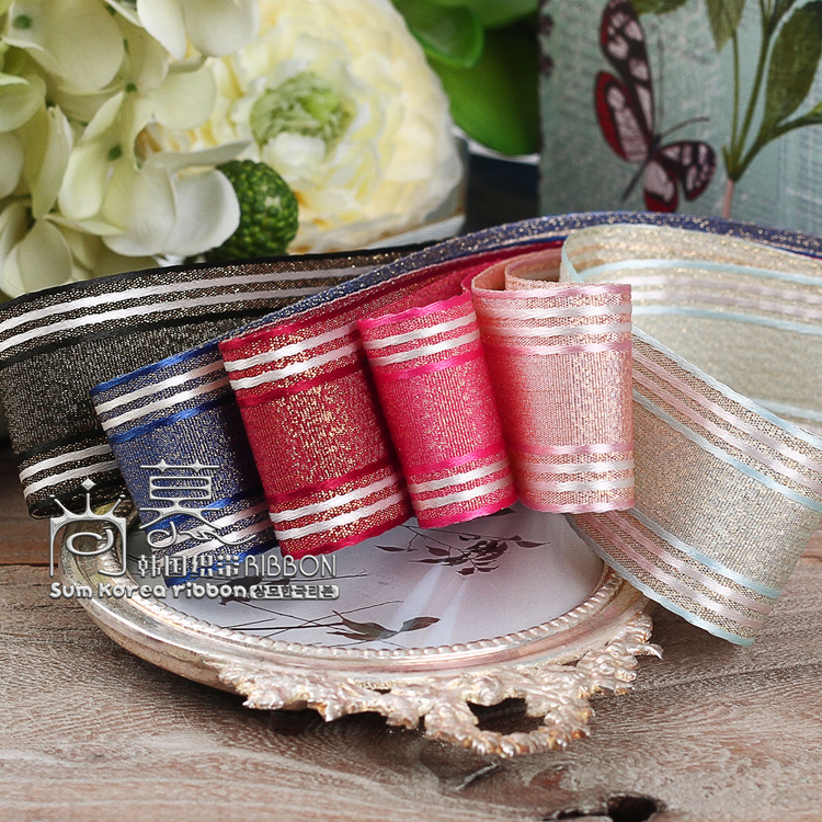 100yards 25mm 40mm elegant stripes korean ribbon for wedding party decorative supplies hair bow bowknot accessories gift packing