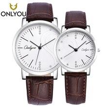 ONLYOU Мода lover часы сердца Форма d пара кварцевые наручные часы Для мужчин кожаный ремешок Для женщин подарок на день Святого Валентина Love Форма