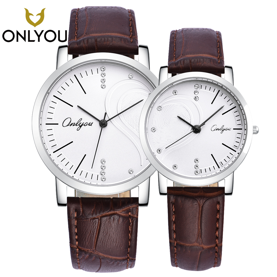 ONLYOU Fashion lover watches Heart-shaped Couple Quartz Wristwatch Men Genuine Leather Watchband Women Valentine Gift Love Shape onlyou lover watches couple fashion unique wristwatch chinese style valentine s day present gift women caual quartz clock