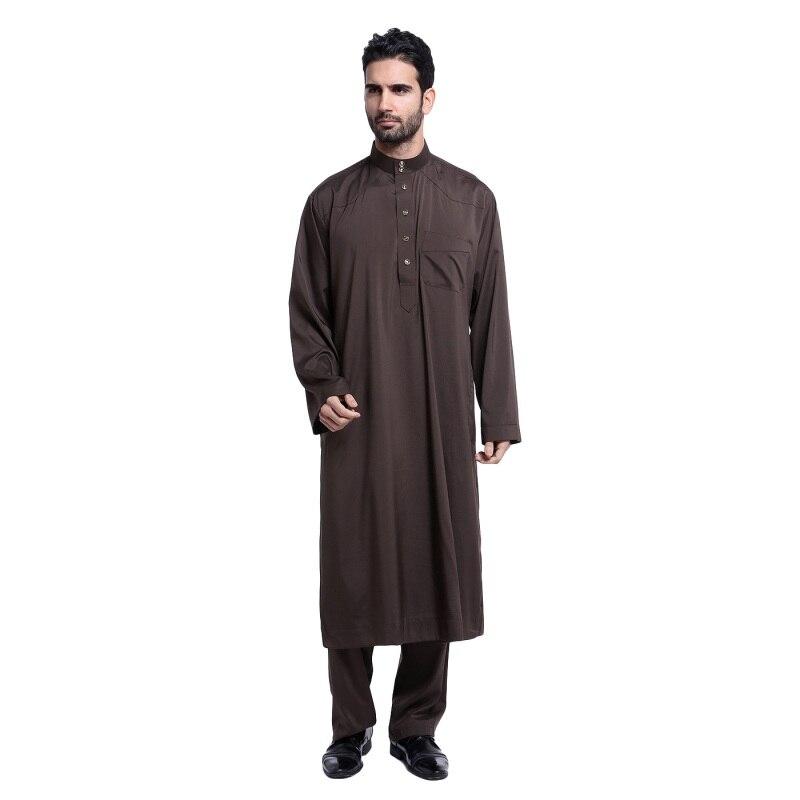 97e00cb86 2017 musulmán hombres blanco manga larga Thobe vestido de hombre ropa  islámica talla grande XXL ...