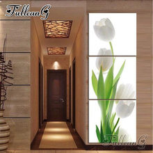 FULLCANG diy 3pcs/set diamond embroidery white tulip flower vertical triptych 5d mosaic painting full square/round drill FC777