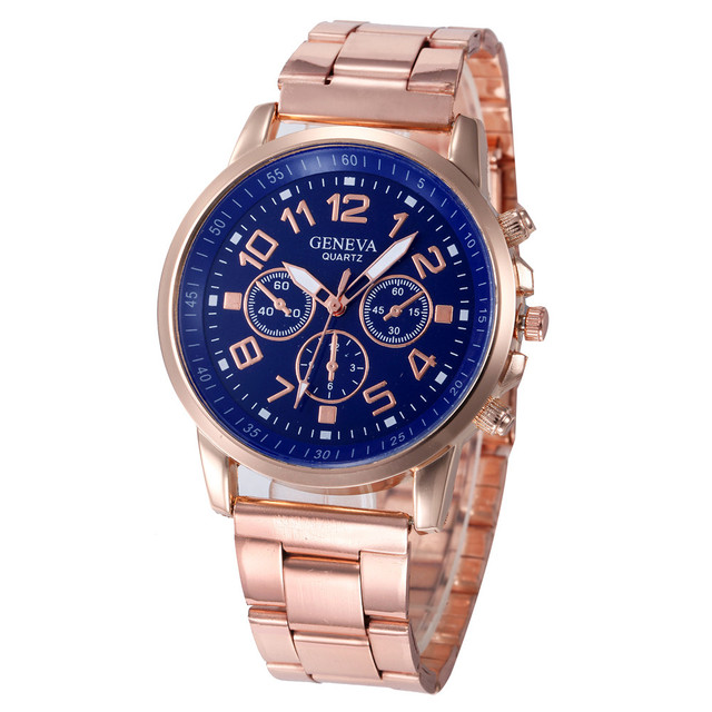 2018 Ladies Big Dial Rose Gold Geneva Quartz Watch Womens Watches Stainless Stee