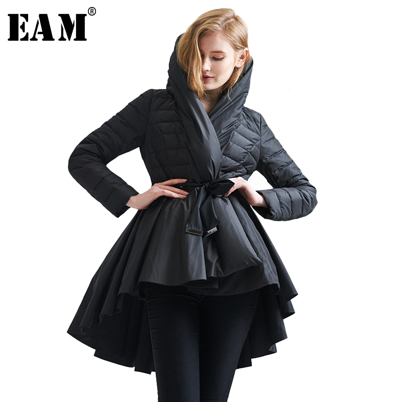 [EAM] 2019 Temperament Winter Fashion Loose Coat Tide New Pattern Dovetail Hem   Parkas   Jackets Women Solid Color Coat YA108