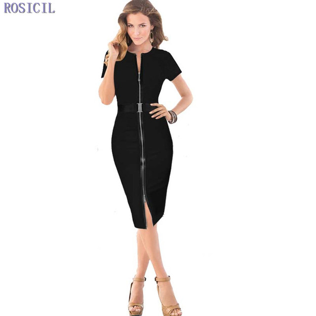 ROSICIL 2017 Fashion Women Summer Belted Sexy Front Zipper Dress Work Dress  Knee Length Office Party Slim Pencil Dress 4ade74df8441