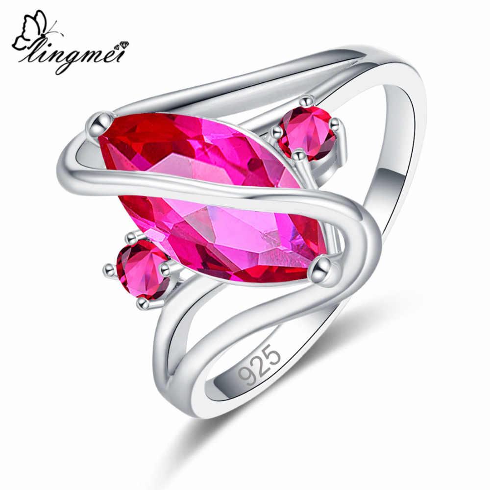 Lingmei Dropshipping Pernikahan Marquise Memotong Multicolor Merah Biru Hijau Silver 925 Cincin Wanita Ukuran 6 7 8 9 10 11 12