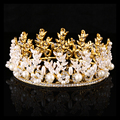 New pearl hair accessories for women wedding Gold diadem atmosphere leaf bridal queen crown rhinestone bride head jewelry