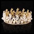 Nueva perla diadema accesorios para el cabello para las mujeres de Oro de la boda atmósfera hoja reina nupcial rhinestone de la corona de novia joyería de la cabeza