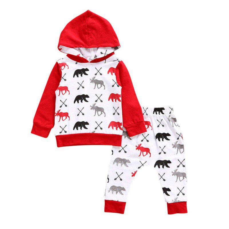 2pcs/set Autumn Baby Girl Boys Clothing Sets Christmas Clothes Hooded Sweater + Bottoms Pants 0-24M