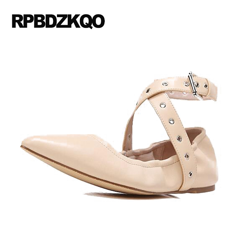 d3c5ce592dc Runway Women Brand Foldable Ballet Flats Ankle Strap Elastic Shoes Black  Ballerina Ladies Nude Designer Pointed Toe Roll Up