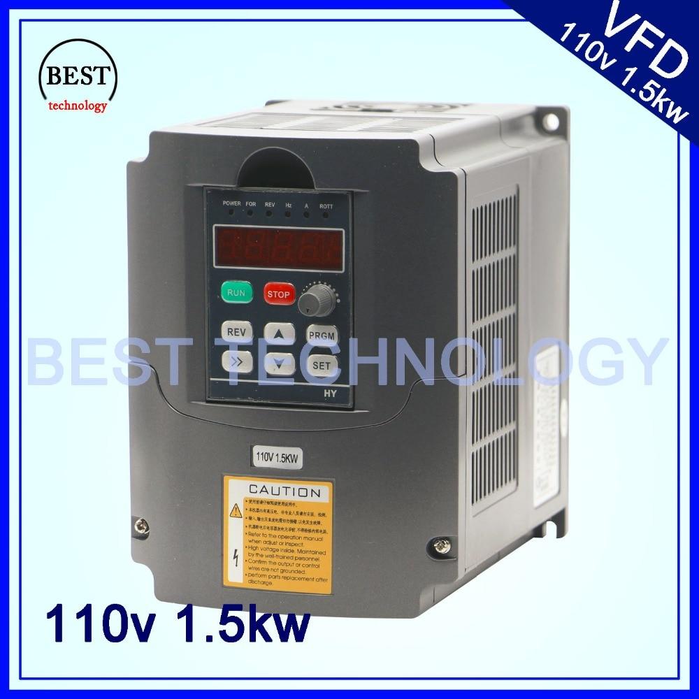 110V 1.5kw VFD Variable Frequency Drive Inverter / VFD Input 1or3HP 110V Output 3HP 110V frequency inverter 110v
