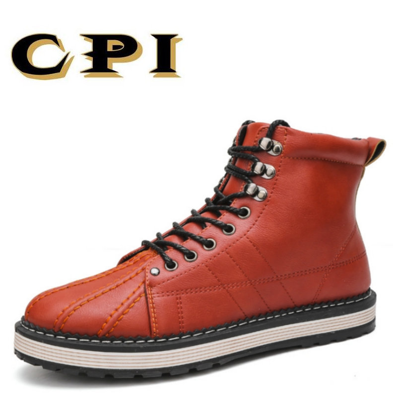 CPI 2018 British Style Men winter Shoes Fashion Winter Ankle Boots Genuine Mens Boots Keep warm Casuals Martin boots PP-113 bullock men s winter warm cashmere men martin boots help british retro style boots shoes for men high leather shoes breathable