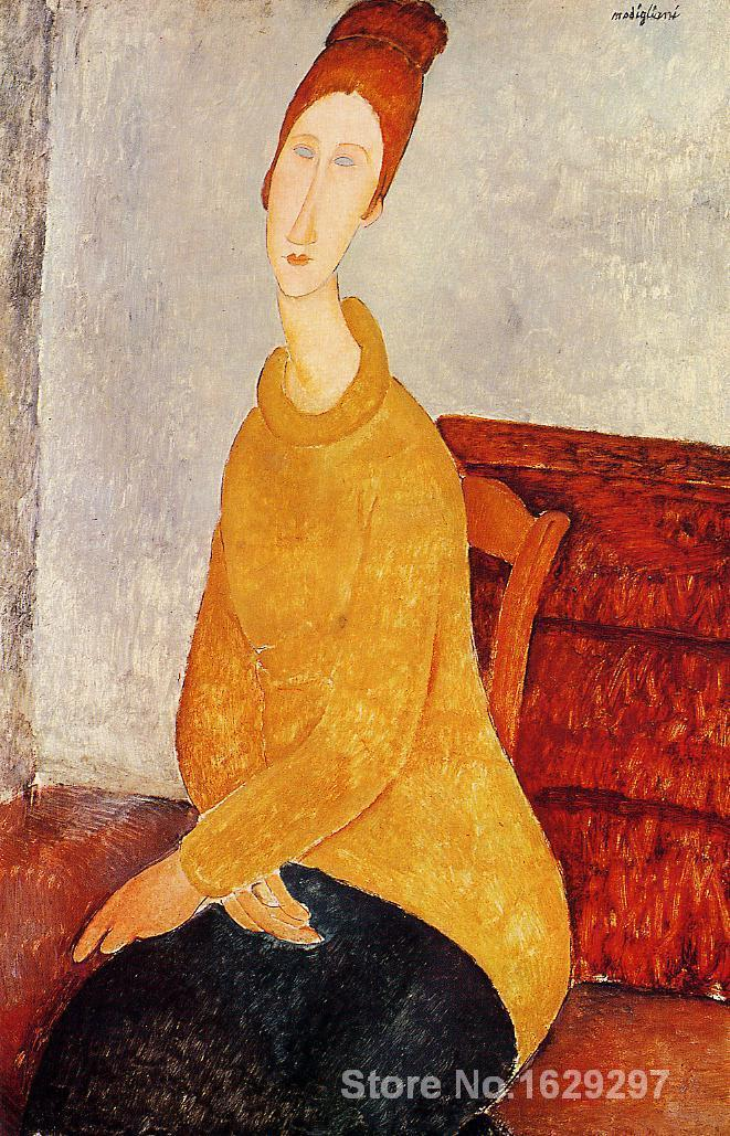 Yellow Sweater Amedeo Modigliani painting for bedroom decoration High quality