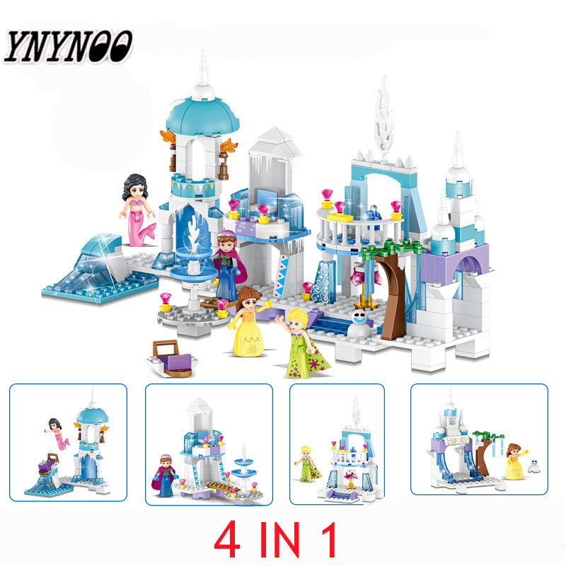 YNYNOO 4 in 1 Princess Mermaid Elsa Anna Ice Castle Building Blocks Sets Kids toys Compatible legoings Friends 37024 for girl стоимость