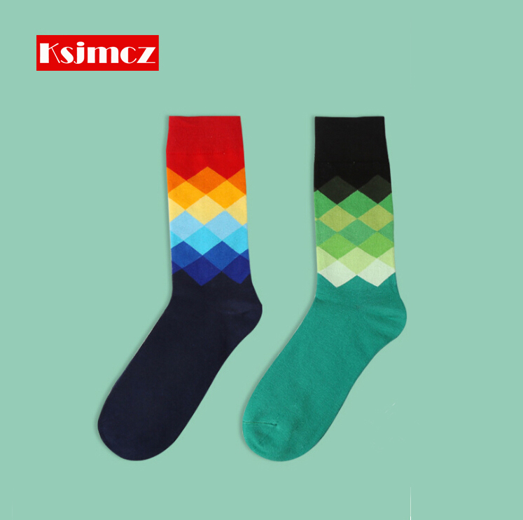 1 Pair KSJMCZ Brand Happy Socks Gradient Color British Style Mens Cotton Long Socks 6 Colors