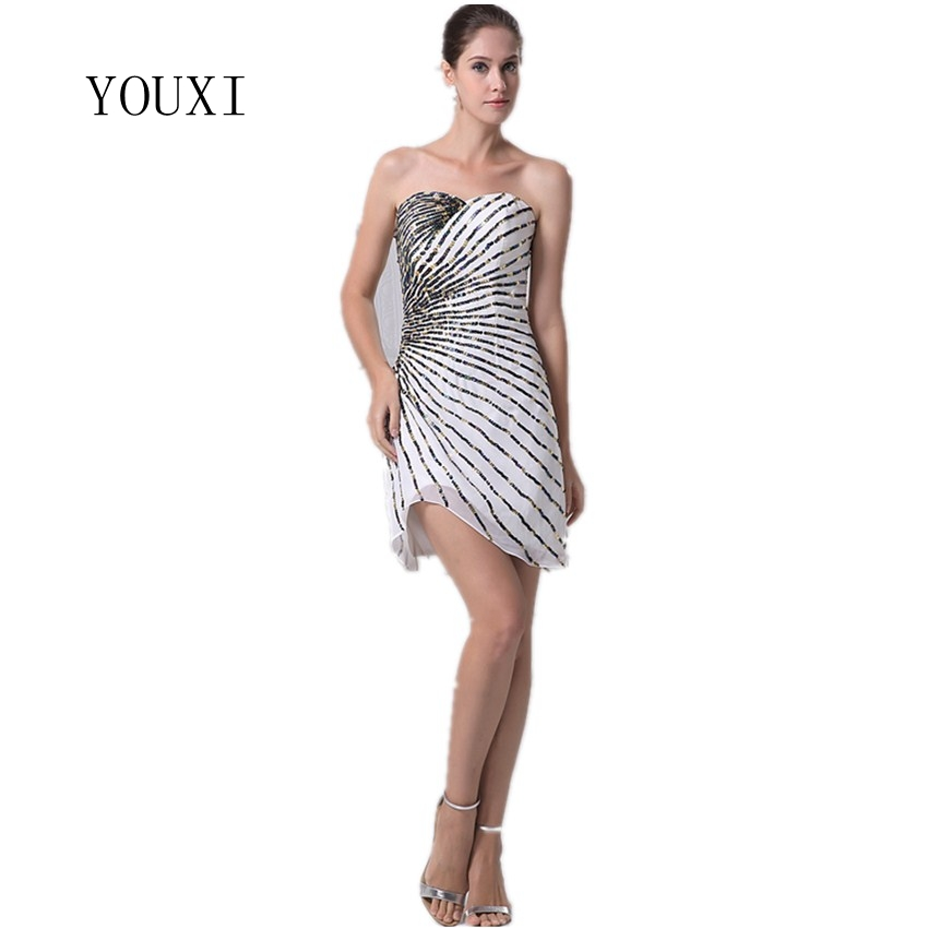 2019 Sexy Sparkly Formal Party Dress Transparent Ivory Chiffon Seuqined Mini Short Cocktail Dresses